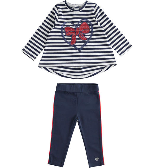 Sarabanda maxi sweater outfit with bow and leggings for girl from 6 months to 7 years NAVY-3854