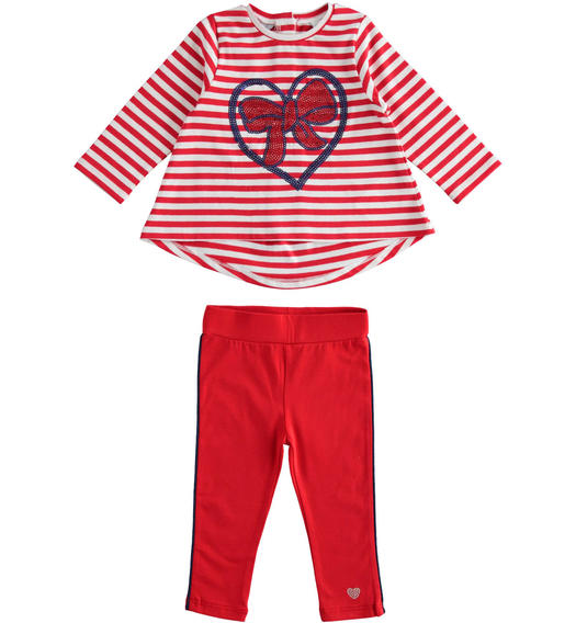 Sarabanda maxi sweater outfit with bow and leggings for girl from 6 months to 7 years ROSSO-2256