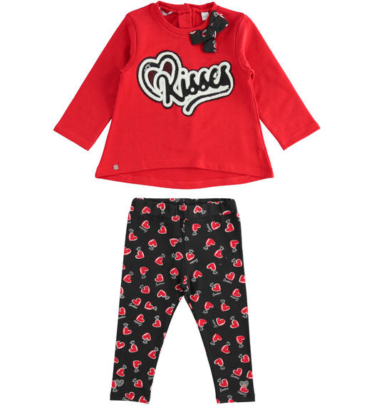 Maxi sweater set with embroidery and leggings with hearts and crowns for baby girls from 6 months to 7 years Sarabanda ROSSO-2251