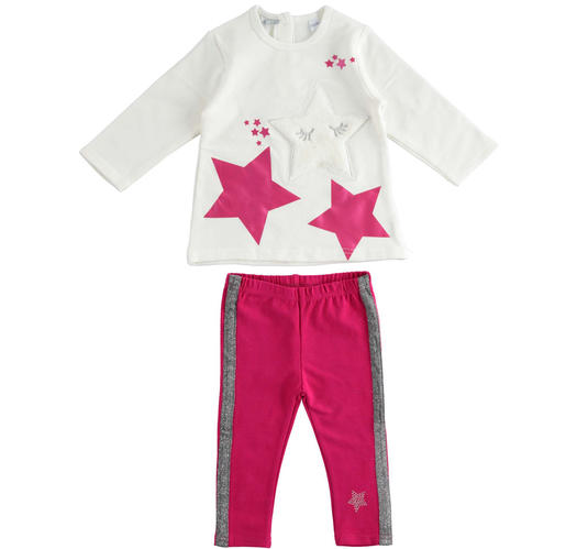 Maxi sweater and leggings set with faux fur star for baby girls from 6 months to 7 years Sarabanda PANNA-0112