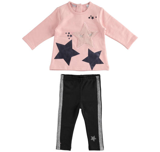 Maxi sweater and leggings set with faux fur star for baby girls from 6 months to 7 years Sarabanda ROSA-2513