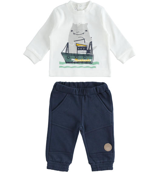 Cotton blend newborn set with sweater with convenient button opening for newborn from 0 to 24 months Minibanda NAVY-3885