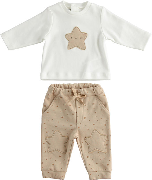 "Unisex model outfit for newborns 100% organic cotton ""organic capsule"" from 0 to 24 months Minibanda TORTORA TABACCO-6NT8"