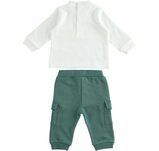 Baby set with comfortable cargo model trousers for newborn from 0 to 24 months Minibanda VERDE SCURO-4551