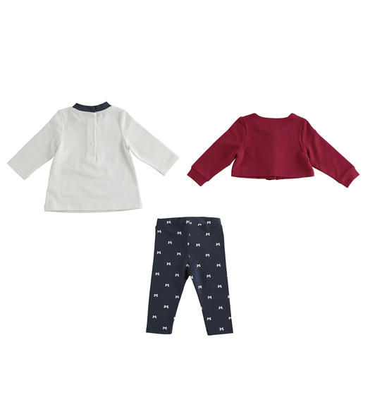 Three-piece outfit consisting of t-shirt, short sweatshirt and leggings for newborn girl from 0 to 24 months Minibanda BORDEAUX-2654
