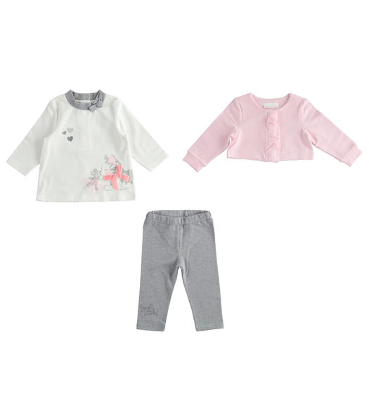 Three-piece outfit consisting of t-shirt, short sweatshirt and leggings for newborn girl from 0 to 24 months Minibanda ROSA-2763