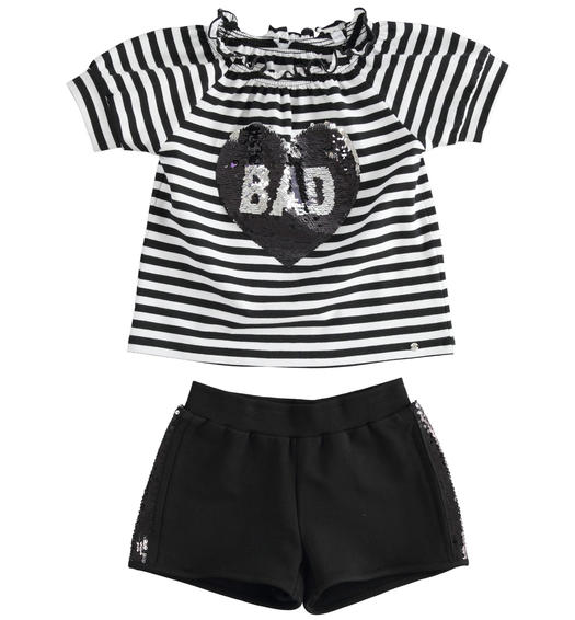 Complete t-shirt with heart of reversible sequins and shorts for girl from 6 to 16 years Sarabanda NERO-0658