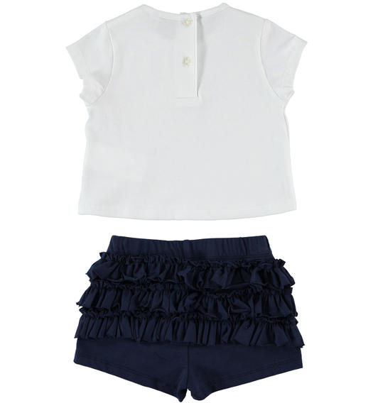 Sarabanda t-shirt outfit with balloons and shorts with flounces for girl from 6 months to 7 years NAVY-3854