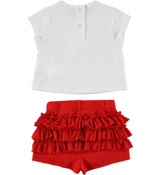 Sarabanda t-shirt outfit with balloons and shorts with flounces for girl from 6 months to 7 years ROSSO-2256