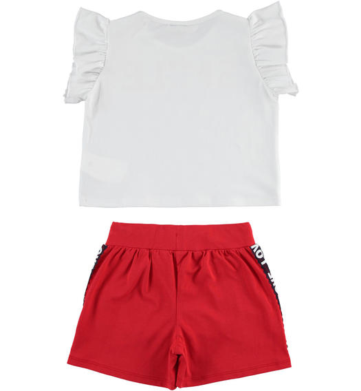 Sarabanda t-shirt outfit with sequin stars and shorts for girl from 6 to 16 years ROSSO-2256