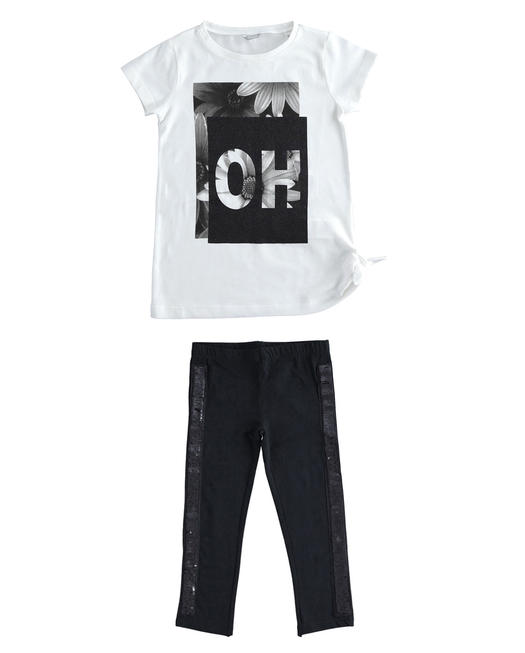 Sarabanda outfit t-shirt and leggings with sequins for girl from 6 to 16 years BIANCO-0113