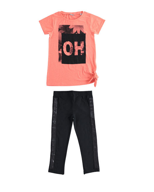 Sarabanda outfit t-shirt and leggings with sequins for girl from 6 to 16 years CORALLO FLUO-5824