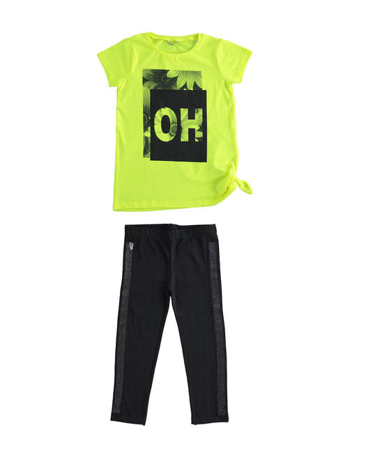 Sarabanda outfit t-shirt and leggings with sequins for girl from 6 to 16 years GIALLO FLUO-1499
