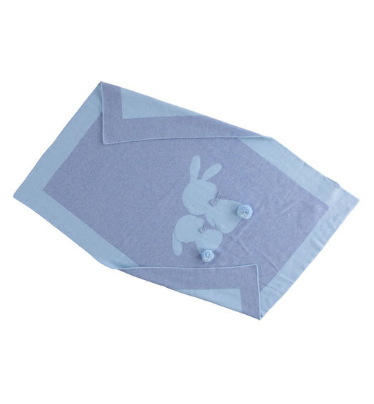 Bunny-themed cot blanket for newborn boy from 0 to 24 months Minibanda CARTA ZUCCHERO MELANGE-8853
