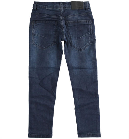 Slim fit denim with sandblasting for boy from 6 to 16 years Sarabanda NAVY-7775