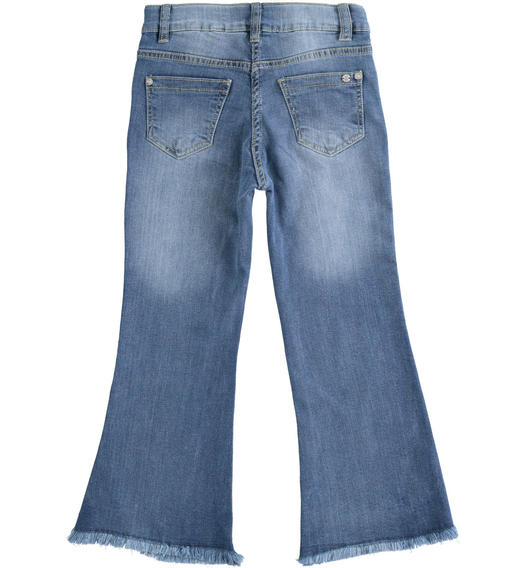 Stretch denim with irregular bottom for girl from 6 to 16 years Sarabanda STONE WASHED CHIARO-7400