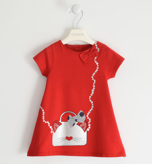 Sweet stretch jersey dress for girl from 6 months to 7 years old Sarabanda ROSSO-2256
