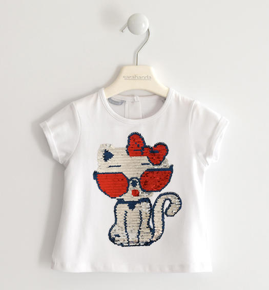 Sweet t-shirt with sequin kitten for girl from 6 months to 7 years Sarabanda BIANCO-0113