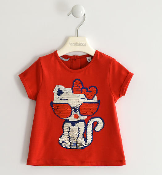 Sweet t-shirt with sequin kitten for girl from 6 months to 7 years Sarabanda ROSSO-2256