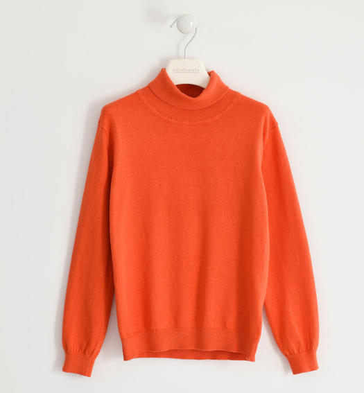 Cotton tricot turtleneck for boy from 6 to 16 years Sarabanda ARANCIO-1828