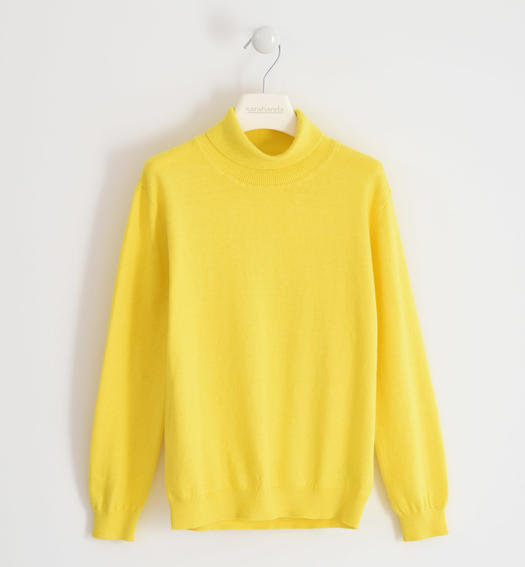 Cotton tricot turtleneck for boy from 6 to 16 years Sarabanda GIALLO-1434