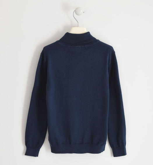 Cotton tricot turtleneck for boy from 6 to 16 years Sarabanda NAVY-3885