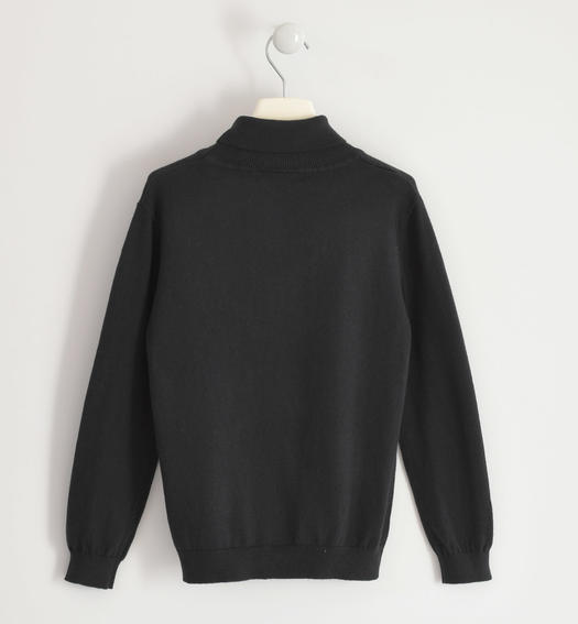 Cotton tricot turtleneck for boy from 6 to 16 years Sarabanda NERO-0658