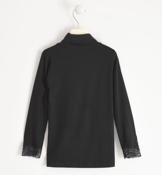 Turtleneck in viscose with lace for girl from 6 to 16 years Sarabanda NERO-0658