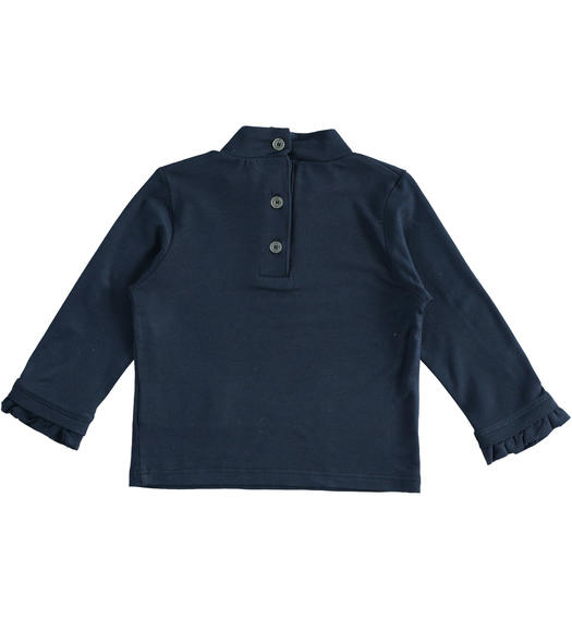 Turtleneck made of stretch viscose for baby girls from 6 months to 7 years Sarabanda NAVY-3885