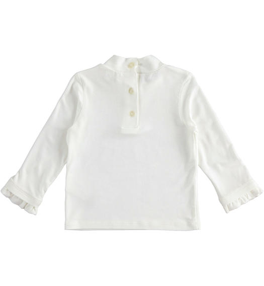 Turtleneck made of stretch viscose for baby girls from 6 months to 7 years Sarabanda PANNA-0112