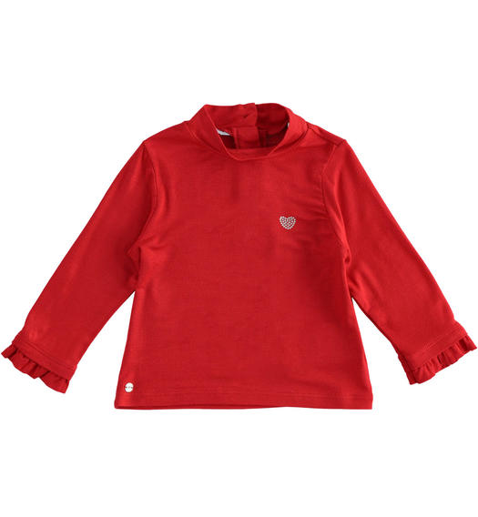 Turtleneck made of stretch viscose for baby girls from 6 months to 7 years Sarabanda ROSSO-2253