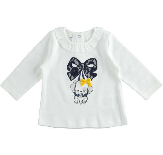 Sweet 100% cotton crew neck t-shirt with little dog for newborn from 0 to 24 months Minibanda PANNA-0112