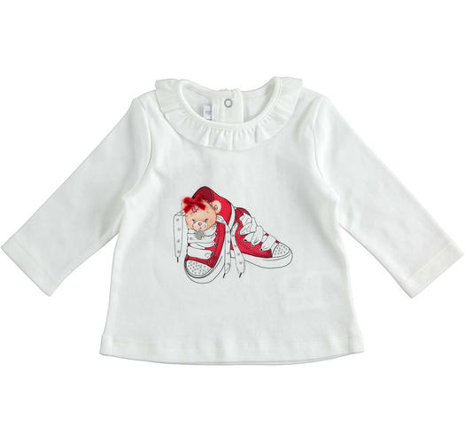 Sweet 100% cotton crew neck t-shirt with little dog for newborn from 0 to 24 months Minibanda PANNA-ROSSO-8135