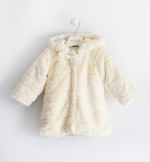 Eco fur with hood for girl from 6 months to 7 years Sarabanda PANNA-0112