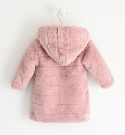 Eco fur with hood for girl from 6 months to 7 years Sarabanda ROSA-3031