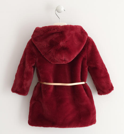 Eco fur Sarabanda with hood for baby girls from 6 months to 7 years BORDEAUX-2537