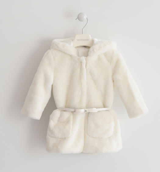 Eco fur Sarabanda with hood for baby girls from 6 months to 7 years PANNA-0112