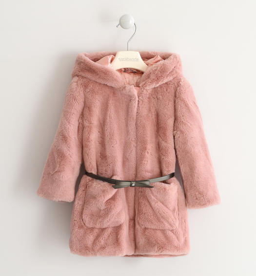 Eco fur Sarabanda with hood for baby girls from 6 months to 7 years ROSA-2513