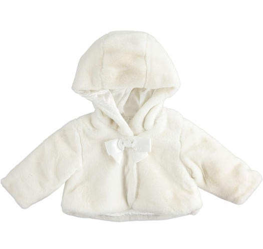 Faux fur with the hood lined of floral patterned fabric for newborn from 0 to 24 months Minibanda PANNA-0112