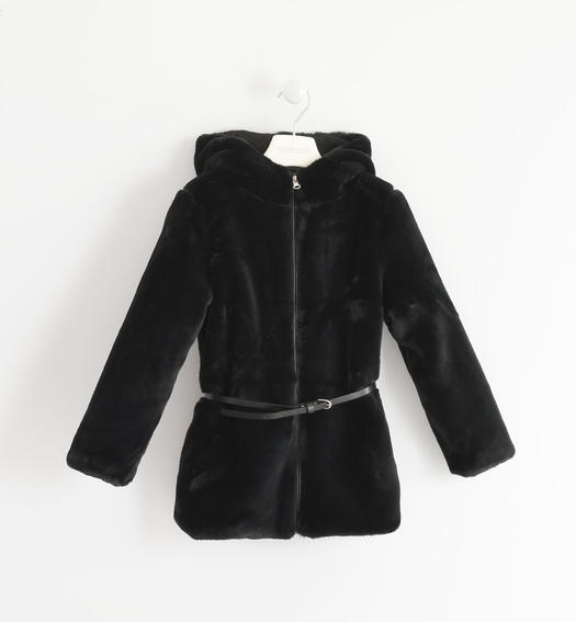 Faux fur, elegant and soft with belt for girls from 6 to 16 years Sarabanda NERO-0658