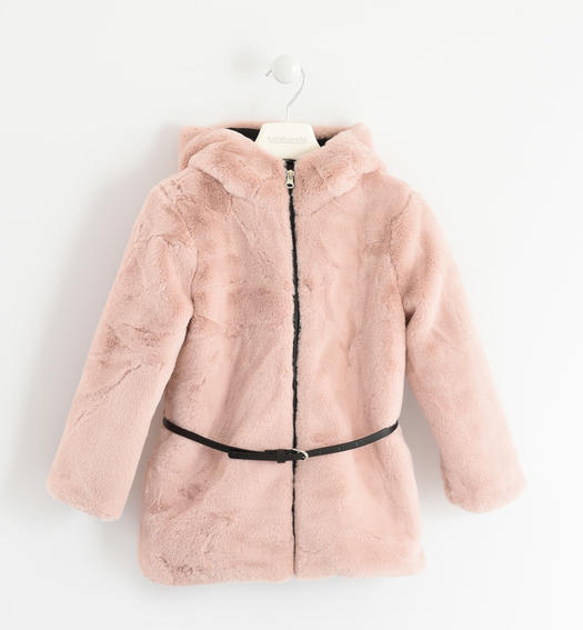 Faux fur, elegant and soft with belt for girls from 6 to 16 years Sarabanda ROSA CHIARO-2612