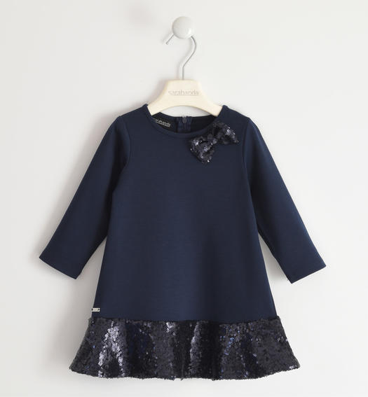 Elegant dress in Milano stitch for girl from 6 months to 7 years Sarabanda NAVY-3885