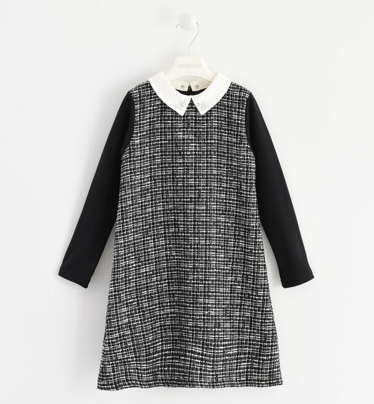"""Chanel"" effect fabric dress for girls from 6 to 16 years Sarabanda NERO-0658"