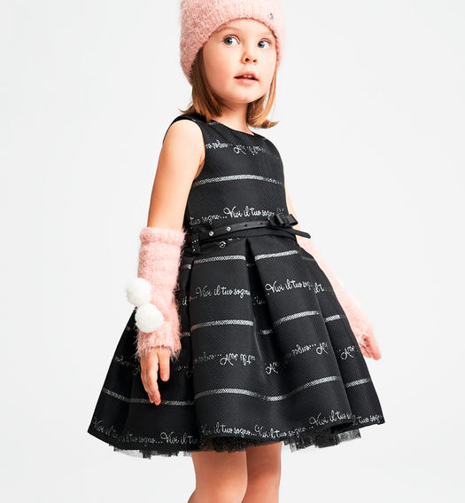 Sleeveless dress characterized by contrasting jacquard lettering for baby girls from 6 months to 7 years Sarabanda NERO-0658