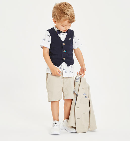Elegant shirt with bow tie and detachable pochette for boy from 6 months to 7 years Sarabanda BIANCO-NAVY-6MU3