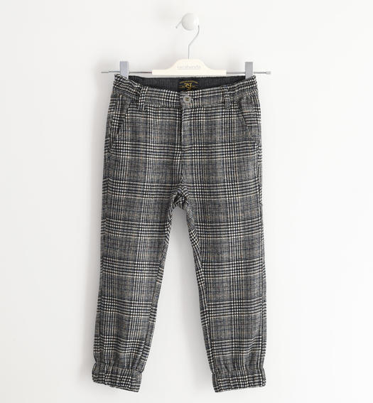 Elegant trousers made of soft and warm pied de poule fabric for boys from 6 to 16 years Sarabanda ECRU'-0133