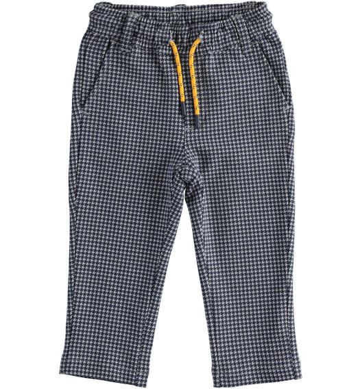 Elegant and particular trousers in micro-patterned fleece for boy from 6 months to 7 years Sarabanda GRIGIO-NAVY-6NY2