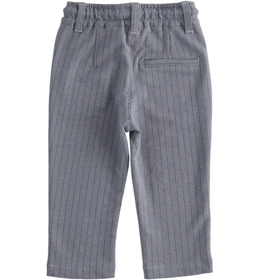 Elegant and particular trousers in micro-patterned fleece for boy from 6 months to 7 years Sarabanda GRIGIO-NAVY-6NY3
