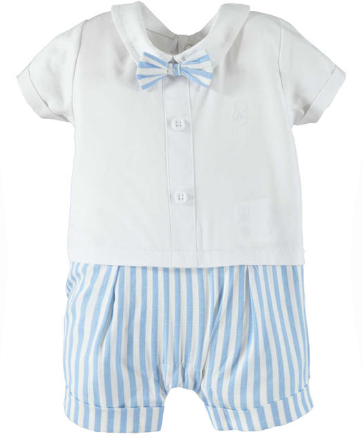Elegant and cute 100% cotton baby boy romper suit for newborn from 0 to 24 months Minibanda BIANCO-0113