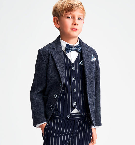 Shuttle weaving jacket with boiled wool effect for boys from 6 to 16 years Sarabanda GRIGIO SCURO-3829